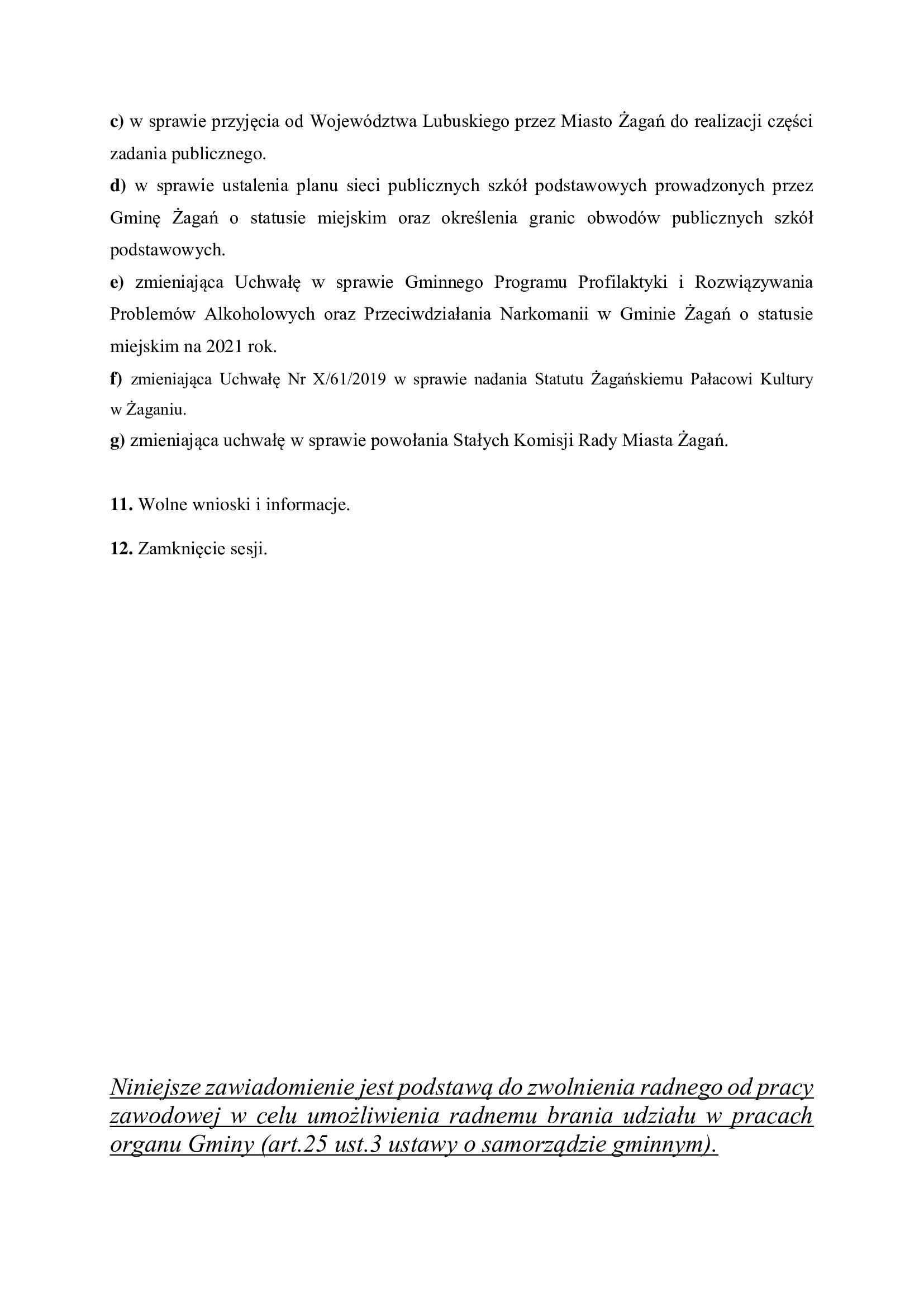Porządek obrad XXVIII sesji Rady Miasta Żagań