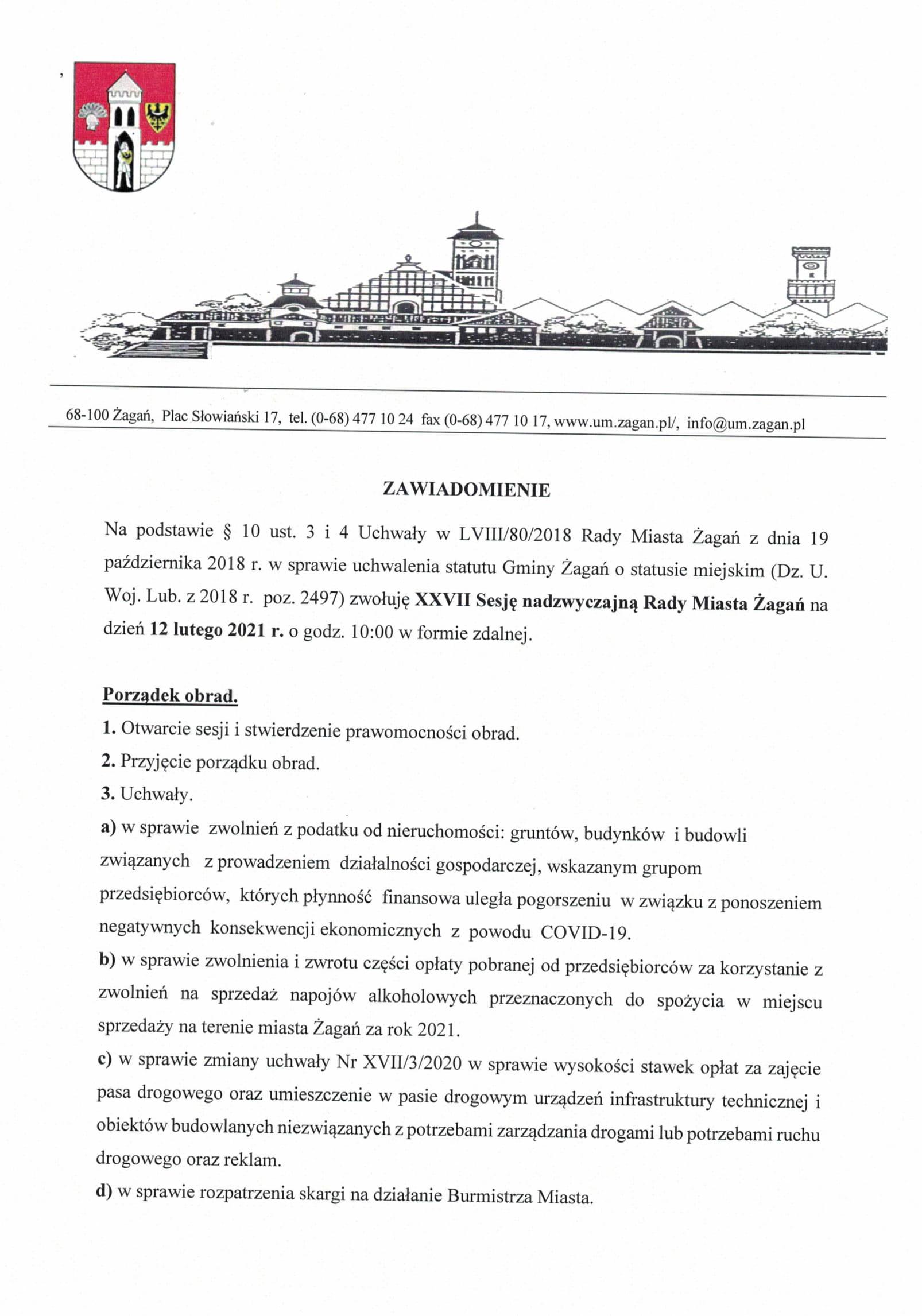 Porządek obrad nadzwyczajnej sesji Rady Miasta Żagań