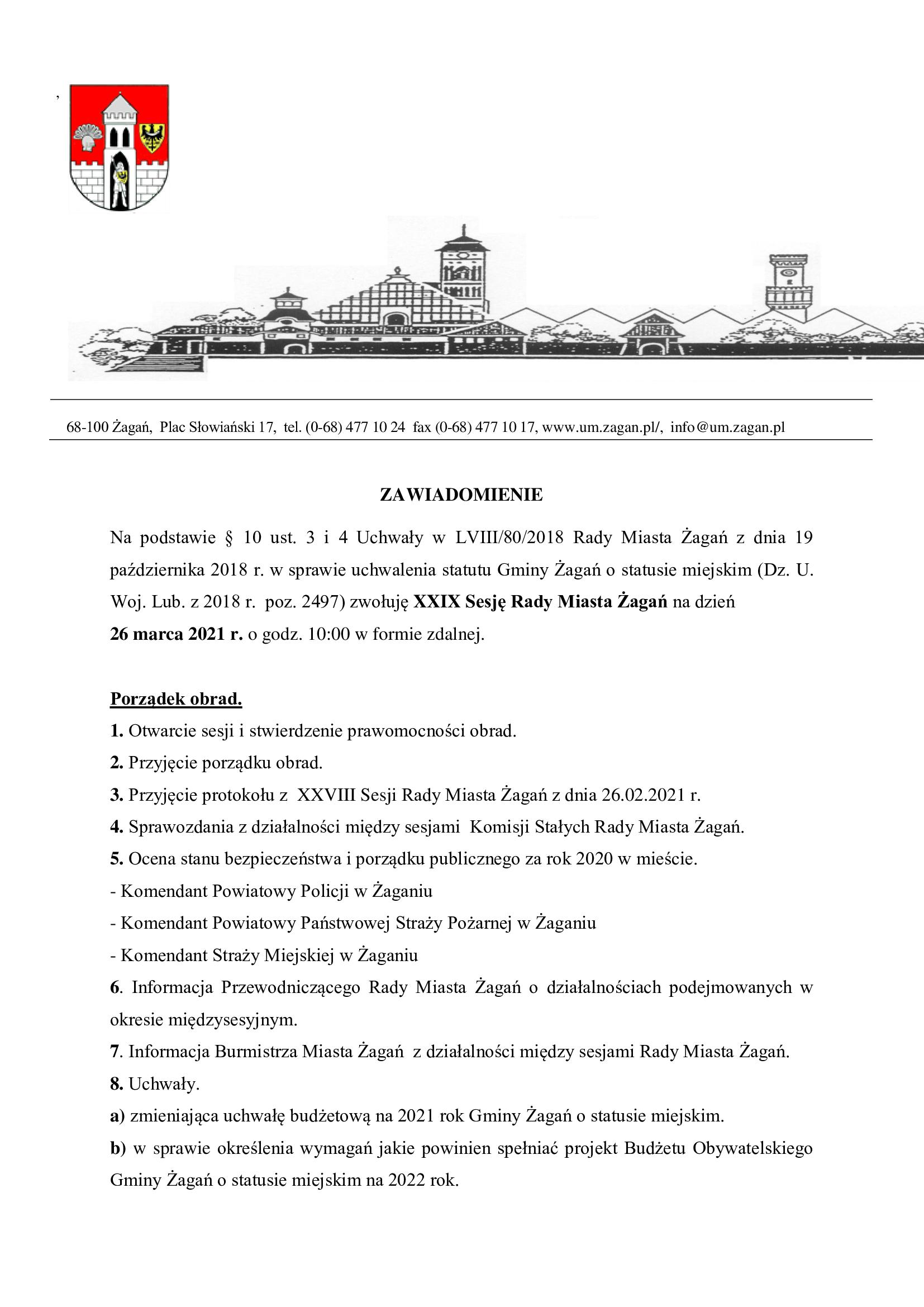 XXIX sesja Rady Miasta Żagań