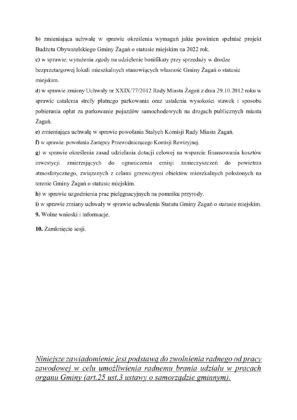 Zawiadomienie o XXX sesji Rady Miasta Żagań