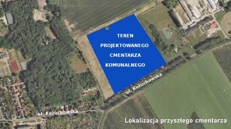 Mapa terenu projektowanego cmentarza