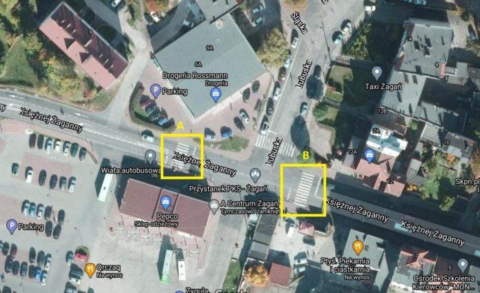 Planowane do doświetlenia przejścia dla pieszych na Żaganny